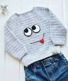 Cute idea for a crochet pullover! Baby Boy Sweater, Baby Sweater Patterns, Baby Cardigan, Knitting Patterns, Crochet Patterns, Crochet Baby Sweaters, Crochet Baby Clothes, Crochet Hats, Crochet Toddler Sweater