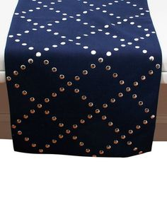 This Peacoat Navy Larz Lattice Runner is perfect! #zulilyfinds  #zulily! #zulilyfinds #thro #throbyml #marlolorenz #throws #pillows #embroidery #paisley #quatrefoil #margo #owls #tootsie #reversible #marvin #sequins #tablelinens #tabletop #runners #placemats #fleece #fauxfur #prints #designs #like #love #follow #share #spread #gifts #buy #shop #colors