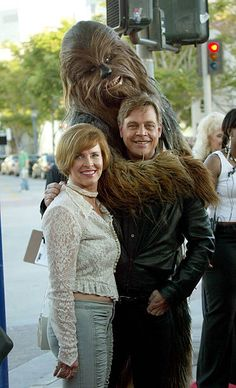 Actor Mark Hamill and and wife Marilou arrive with Chewbacca to the 'Star Wars Episode III Revenge Of The Sith' Los Angeles Premiere at the Mann...