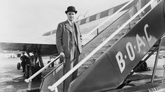 English physicist and Paymaster-General Frederick Lindemann, 1st Viscount Cherwell boards a plane at London Airport, Sept. 16, 1953. (Jimmy Sime/Central Press/Hulton Archive/Getty Images) Glamour in the Skies: Vintage air travel photos - uk.weather.com