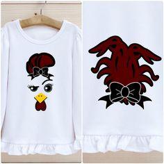 Gamecock Mascot Shirt with Bow and Tail Features South | Etsy Making Shirts, Ruffle Shirt, Football Shirts, Colorful Shirts, To My Daughter, Graphic Sweatshirt, Bows, Kid, Sweatshirts