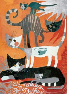 Cat Stack (Somebody Ate a Mouse) by Rosina Wachtmeister