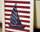 Sailboat 8x10 print- Nautical nursery decor- baby blue and navy- sailor theme party. $8.00, via Etsy.