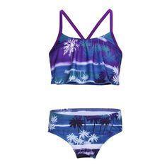 8bb537be2b73e Girls Tankini Tropical Palm Printed Flounce Swimsuits Swimwear Spaghetti  Straps Bikini Sets - Purple&green - CP18G7XI0T7