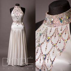 White Satin Velvet Smooth w/ AB Collar & Attached Belt