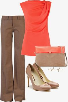 Tan and Coral outfit~Perfect for the spring! Already have these pieces in my closet! (*Just need the clutch!)