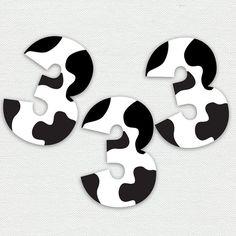 Printable Cupcake Toppers Cow Print Number por PrintsForEvents