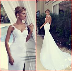 Wholesale Mermaid Wedding Dresses - Buy New Arrival 2014 Wedding Dresses White Spaghetti Lace Appliques Sexy Backless Mermaid Dress Court Train Gorgeous Bridal Gowns Nurit Hen W365, $129.01 | DHgate