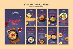 Discover thousands of copyright-free PSD files. Graphic resources for personal and commercial use. Thousands of new files uploaded daily. Food Web Design, Food Poster Design, Free Instagram, Instagram Posts, Instagram Story Template, Social Media Template, Health Breakfast, Food Menu, Food Template
