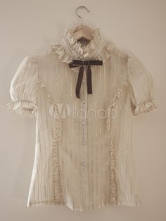 [$99.99] Beige Cotton Short Sleeves Lolita Blouse For Women