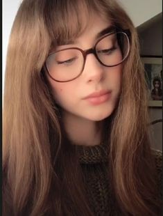 Bangs And Glasses, Girls With Glasses, Western Girl, Red Aesthetic, Beautiful Person, Pretty Makeup, These Girls, Pretty Face, Hair Inspo