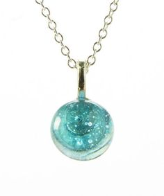 Another great find on #zulily! Blue Recycled Antique Mason Jar Glass Circle Necklace #zulilyfinds