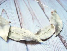 Golden Handmade Leaves Statement Necklace by Fimonita on Etsy