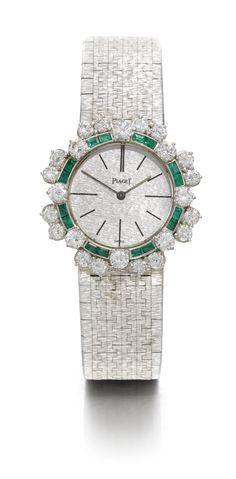PIAGET LADYS 18K WHITE GOLD EMERALD AND DIAMOND-SET BRACELET WATCH CIRCA 1960. WOMEN'S FINE BRACELETS - http://amzn.to/2ikysTF