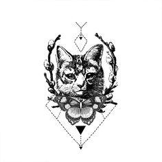 Tribal Cat tattoo Pattern Tattoo Temporary Tattoo by ArrowTattoo