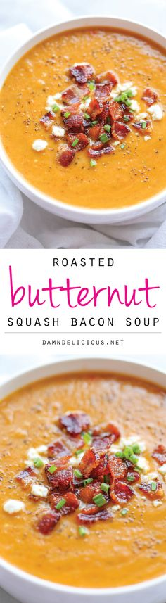 Roasted Butternut Squash and Bacon Soup - By far the best butternut squash soup ever, with the help of those crisp bacon bits blended right into the soup! paleo if no goat cheese topping Fall Recipes, Soup Recipes, Cooking Recipes, Healthy Recipes, Recipies, Cooking Pork, Recipes Dinner, Potato Recipes, Casserole Recipes