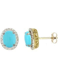 10K Yellow Gold Diamond Natural Turquoise Earrings Oval 7x5 mm ❤ ...