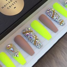 Nude neon bling press on nails Neon Yellow Nails, Neon Nails, Dope Nails, Matte Nails, My Nails, Bling Nails, Bling Nail Art, Luxury Nails, Dream Nails