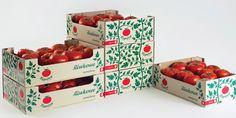 ポーランドのトマトの箱のパッケージ。積み上げられるとトマトの蔦が伸びてゆく。よく考えられてていいね。(via Łęgajny TomatoFarm)
