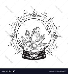 Hand drawn magic crystal ball with gems line art and dot work. Boho chic tattoo, poster or altar veil print design vector illustration , Dotted Drawings, Art Drawings, Drawing Tattoos, Star Wars Tattoo, Crystal Ball Tattoo, Evvi Art, Crystal Drawing, Chic Tattoo, Ball Drawing