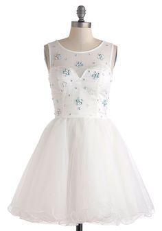 Once Upon a Gleam Dress - Wedding, Sheer, Short, White, Rhinestones, Prom, Ballerina / Tutu, Tank top (2 thick straps), Scoop, Solid, Fairytale, Bride