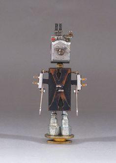 Assemblage Metal Art Robot Sculpture Xandy by CastOfCharacters23