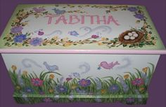 Painted Toy Chest, Painted Boxes, Nautical Fonts, Peter Rabbit Toys, Funky Painted Furniture, Garden Toys, Box Garden, Little Girl Rooms, Diy Wood Projects