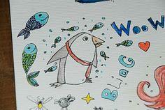 Pinguin Power. Illustration von www.eauschsinnig.de #watercolourpainting #pinguine #zeichnen #aquarellzeichnung #Illustration