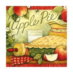 CounterArt Square Apple Pie Absorbent Coasters, Set of 4 Apple Kitchen Decor, Kitchen Decor Themes, Kitchen Art, Country Kitchen, Kitchen Ideas, Burner Covers, Country Paintings, Wood Coasters, Stencil