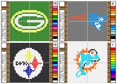 I drew this of mosaic patterns for the Animal Crossing New Leaf game. These are patterns of the NFL team logos, Green Bay Packers, New England Patriots, Pittsburgh Steelers and the Miami Dolphins.