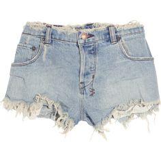 Ksubi Albuquerque cut-off denim shorts ($86) ❤ liked on Polyvore featuring shorts, bottoms, pants, short, light denim, low rise denim shorts, low rise short shorts, cutoff shorts, short cut off jean shorts and denim cutoff shorts