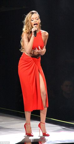 Red alert: Diana, Princess of Wales, in a red evening dress designed by Victor Edlestein, arriving at Banquet House, Whitehall and Rihanna in a more revealing take on the dress on tour
