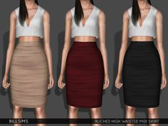 Ruched High Waisted Midi Skirt (TS3) • YA/AF • Everyday/Formal • Available for maternity • Recolorable | 1 channel • 3 variations included • Launcher and CAS thumbnail included Please follow my TOU If you use any of my stuff, make sure to tag Simsway...