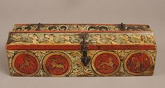 sf1976_327s1b  Painted Box, ca. 1300. Made in Upper Rhine region, Germany. Wood, polychromy and metal mounts. Overall: 3 1/8 x 10 3/8 x 3 5/8 in. (7.9 x 26.4 x 9.2 cm). Purchase, Gift of J. Pierpont Morgan, by exchange, 1976 (1976.327). Image: © The Metropolitan Museum of Art, New York