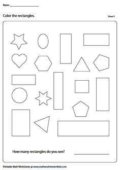 Coloring Rectangles Introduction To Geometry, Geometry Worksheets, English Lessons For Kids, Fun Activities, Coloring