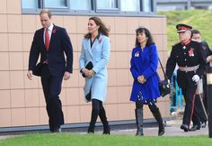 Chilly walk: The Duke and Duchess of Cambridge visit the Pembroke Refinery in Hundleton, Wales