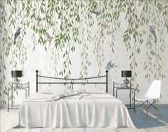 Green Hanging Leaves with Colorful Birds Wallpaper Mural - Informationen zu Green Hanging Leaves with Colorful Birds Wallpaper Mural Pin Sie können mein Prof - Palm Leaf Wallpaper, Green Wallpaper, Wall Wallpaper, Bird Wallpaper Bedroom, Wallpaper Living Rooms, Wallpaper For House, Dragonfly Wallpaper, Bird Bedroom, Baby Nursery Wallpaper