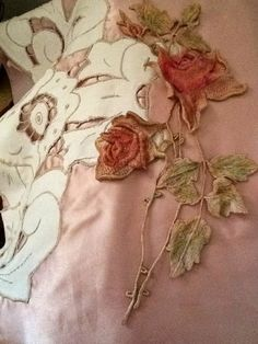 Roses applique and linen cutwork