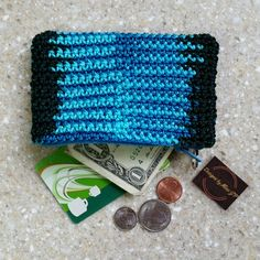Coin Purse Pouch Bag crochet turquoise black with zipper FREE SHIPPING USA by DesignsbyMissJP on Etsy