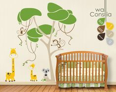 """Baby Nursery Wall Decals - Jungle Tree Wall Decal - Tree Wall Decals - Large: approx 88"""" x 80"""" - K001. $110.00, via Etsy."""