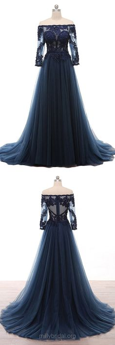 Long Sleeve Prom Dresses Modest, A-line Formal Dresses Off-the-shoulder,Tulle Lace Evening Party Dresses Dark Navy