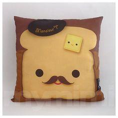 """Decorative Pillow, Brown Pillow, Food Pillow, Mustache Pillow, Decorative Pillow, Cotton Pillow, Accent Pillow, Cushion, 16 x 16"""""""