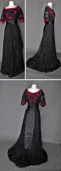 Evening gown ca. 1908. One piece with Battenburg lace. Trained skirt lined in black; bodice lined in shocking pink. Owned by member of the Sargeant family, Boston. Augusta Auctions