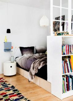 "Idea for ""Room Divider"" using bookshelf . things every studio apartment needs Apartment Needs, Apartment Living, Studio Apartment, Apartment Therapy, Deco Studio, Small Space Living, Living Area, Living Spaces, Living Room"