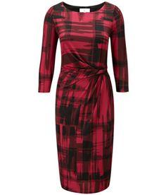 Petite Black/Crimson Check Jersey Dress