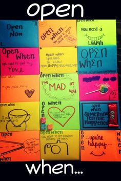 """""""Open when..."""" Letters for him, her, nieces, nephews, etc... It takes some time but it's totally worth it!!!! Can't wait to do some for my niece and son now that these are out the way lol -Annie:"""