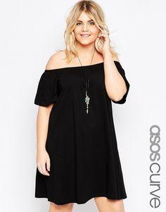 Super lækre ASOS CURVE Boho Off Shoulder Dress - Black ASOS Curve Kjoler til Damer til hverdag og til fest