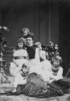 Alexandra, Princess of Wales, with her children, 1874 [in Portraits of Royal Children Vol.19 1874-75] | Royal Collection Trust
