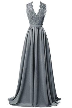 Gray Prom Dresses beaded Prom Dress Gray Prom Dresses Formal Gown Evening Gowns Modest Party Dress Prom Gown For Teens Grey Prom Dress, Beaded Prom Dress, Lace Dress, Lace Chiffon, Chiffon Dresses, Chiffon Tops, White Dress, Pretty Dresses, Beautiful Dresses