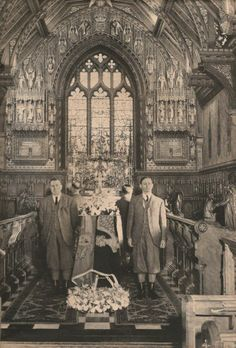 'Three days dead, King George VI rested in the little church of St Mary Magdalene on the Sandringham Estate, in a plain coffin made for him overnight, out of an old oak in the park, by the carpenters of the royal estate. On Feb 11 the King's coffin was to be taken to London, there to lie in Westminster Hall until the funeral on Feb 15th 1952. Among the wreaths was the one at the  foot of the coffin reading 'To Darling Papa from Elizabeth and Phillip'